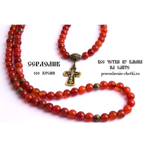 Православные четки из Сердолика на 100 зерен (с крестом) (фото, вид 1)