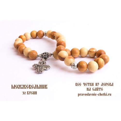 Православные четки из можжевельника на 30 бусин (с крестом) (фото, вид 2)