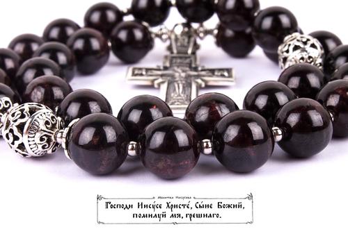 Православные четки из Граната на 30 зерен ( D: 12 мм.) (фото, вид 4)