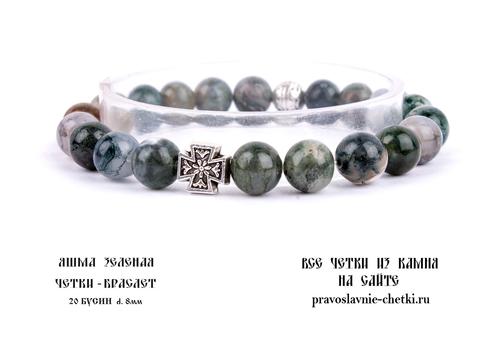 Православные четки-браслет из Яшмы Зеленой на 20 зерен (d=8 мм) (фото, вид 2)
