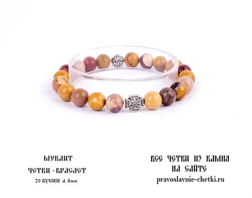 Православные четки-браслет из Мукаита 20 зерен (d=8 мм) (фото, вид 2)