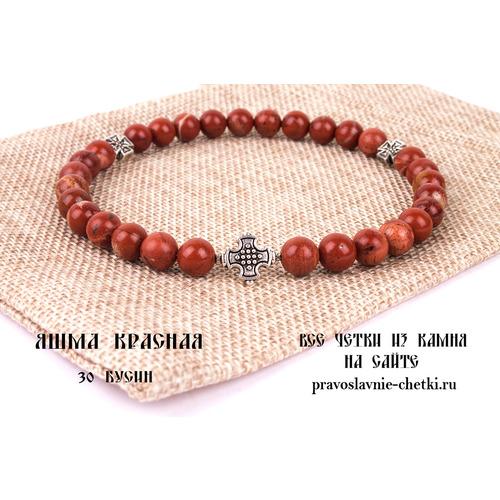 Православные четки из Яшмы Красной на 30 зерен (круг)