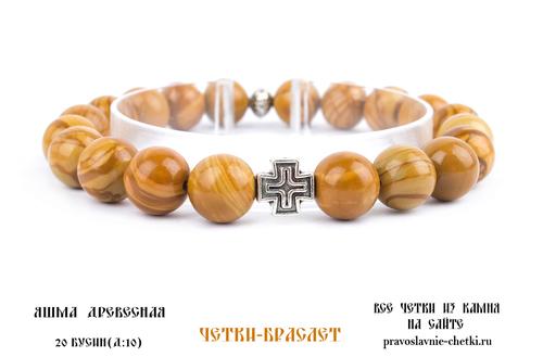 Православные четки-браслет из Яшмы Монгольской на 20 зерен (d=10 мм) (фото)