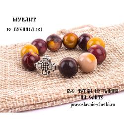 Православные четки из Мукаита на 10 зерен (перстные, D:10мм)