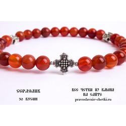 Православные четки из Сердолика на 30 зерен (в форме круга) d=8