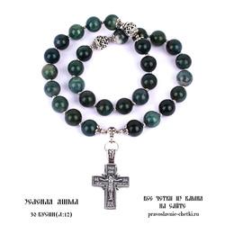 Православные четки из Яшмы Зеленой на 30 зерен ( D: 12 мм.)