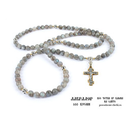 Православные четки из Лабрадорита на 100 зерен (с крестом) d=10