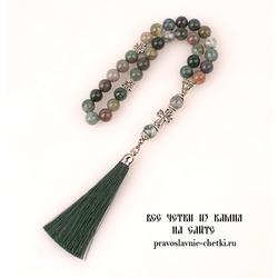 Православные четки из Яшмы Зеленой на 30 зерен (с кистью)